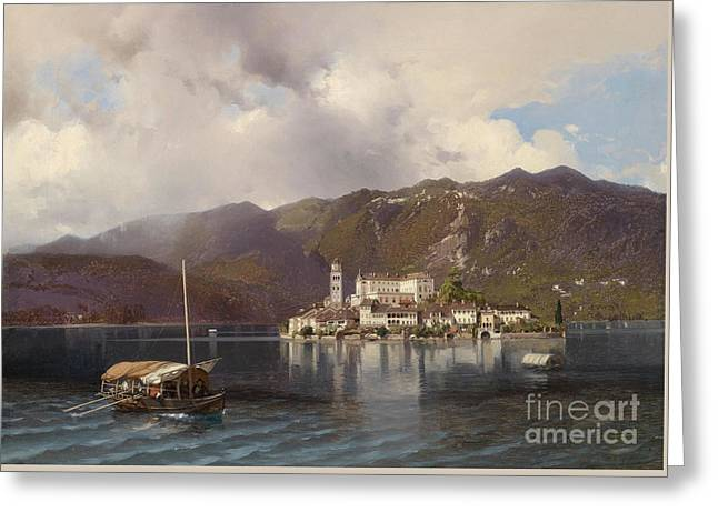 View Of Isola San Giulio In Lake Orta Greeting Card