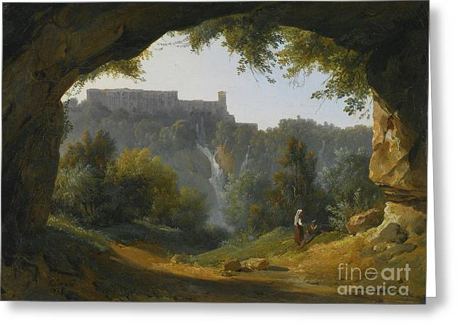 View Of Tivoli From A Grotto Greeting Card by MotionAge Designs