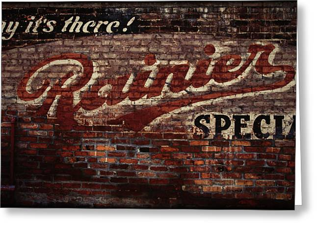 Vintage Rainier Sign Greeting Card by DMSprouse Art