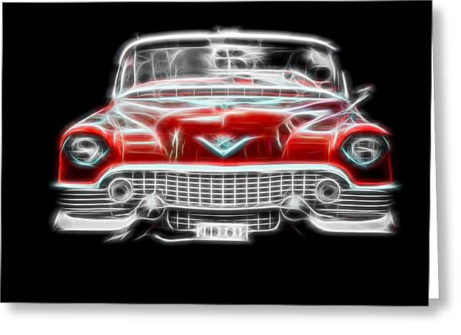 Vehicles Greeting Card featuring the photograph  Vintage Red Cadillac by Aaron Berg