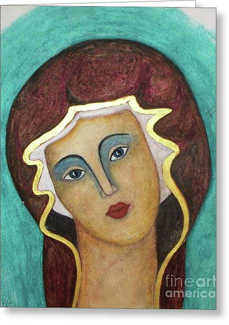 Virgin Mary Greeting Card by Vesna Antic