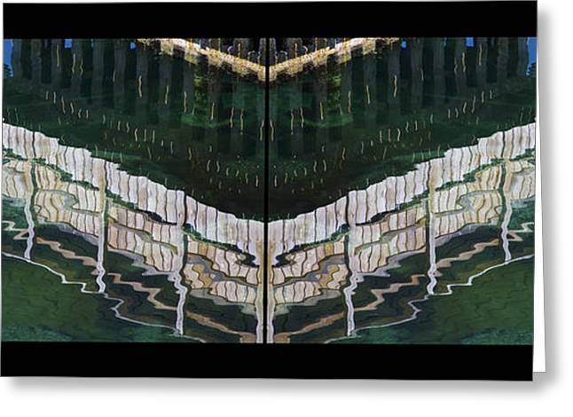 Greeting Card featuring the photograph  Water Reflection Twofold by Heiko Koehrer-Wagner