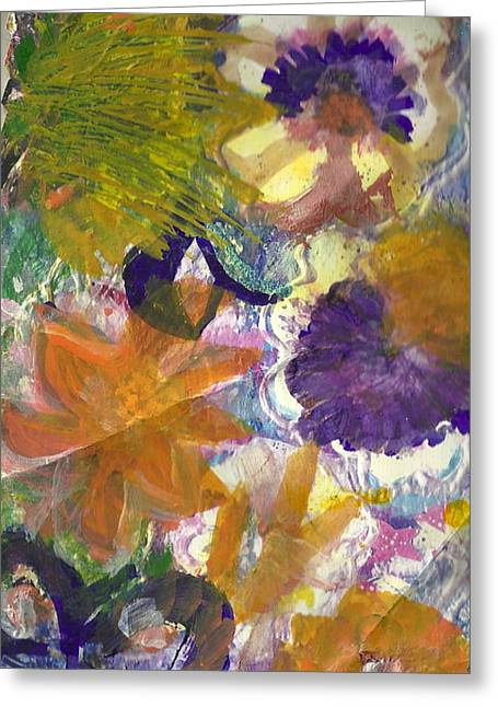 Les Mixed Media Greeting Cards -  Whimsical Floral Greeting Card by Anne-Elizabeth Whiteway