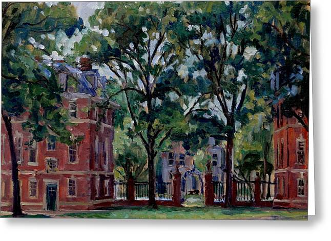 Abstract Realist Landscape Greeting Cards -  Williams College Quad Greeting Card by Thor Wickstrom