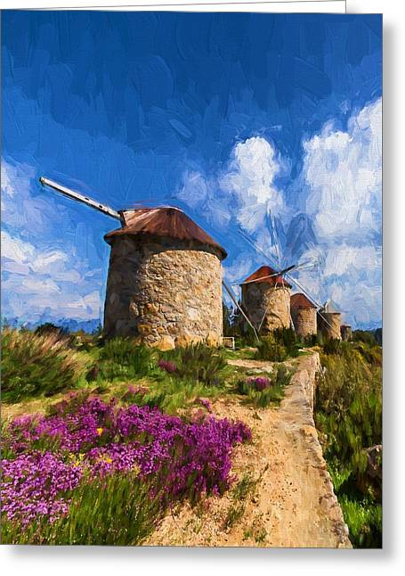Windmills Of Portugal Greeting Card