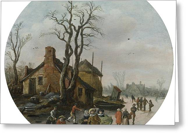 Winter Landscape With Skaters Greeting Card