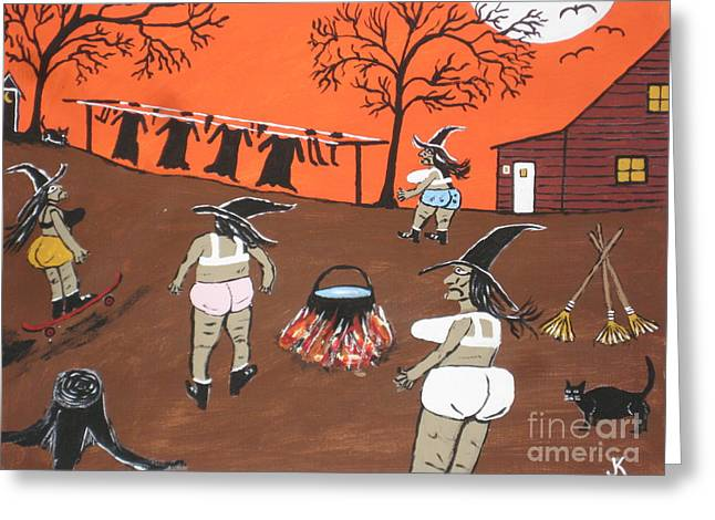 Witches Wash Day Greeting Card by Jeffrey Koss