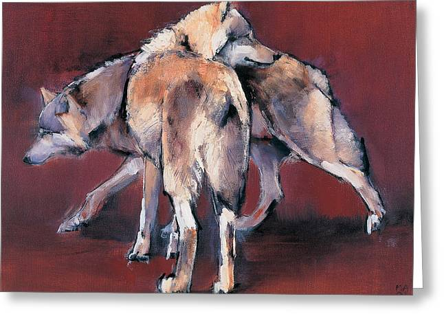 Wolf Composition Greeting Card by Mark Adlington