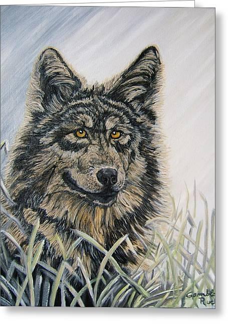 Nancy Rucker Greeting Cards -  Wolf Dog Greeting Card by Nancy Rucker