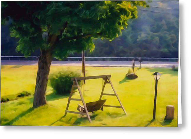 Wooden Swing In The Garden Greeting Card by Lanjee Chee