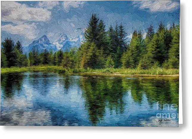 Wyoming Tetons Spruce Mountain Lake. Oil Painting . Greeting Card by Heinz G Mielke