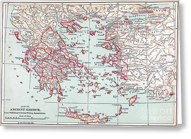 Map: Ancient Greece Greeting Card by Granger
