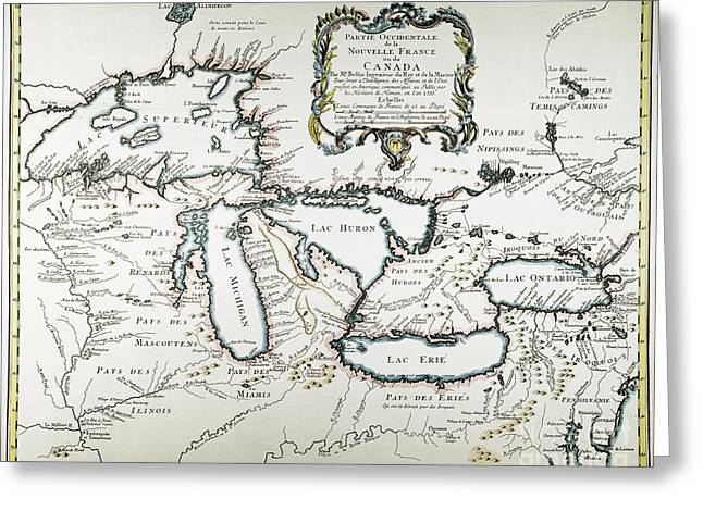 Great Lakes Map, 1755 Greeting Card by Granger