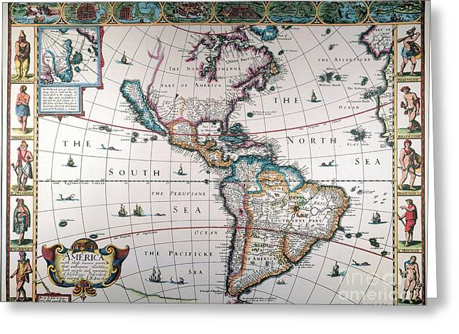 New World Map, 1616 Greeting Card by Granger