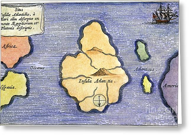 Map Of Atlantis, 1678 Greeting Card by Granger