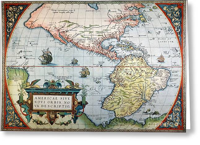 New World Map, 1570 Greeting Card by Granger