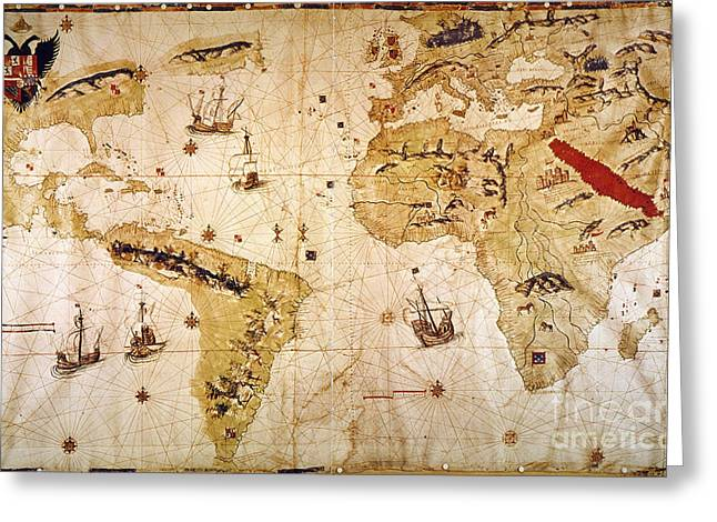 Vespucci's World Map, 1526 Greeting Card by Granger