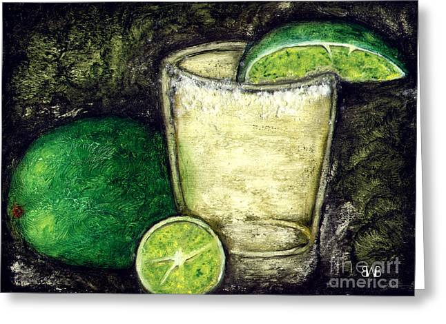 Gold Lime Green Greeting Cards - #0017 Still Life with Limes Greeting Card by Brian Bingham
