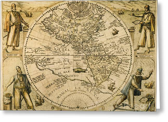 W. Hemisphere Map, 1596 Greeting Card by Granger