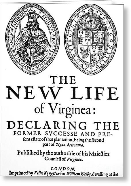 Virginia Tract, 1612 Greeting Card