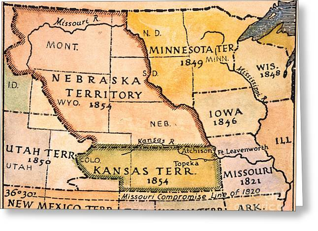 Kansas-nebraska Map, 1854 Greeting Card by Granger