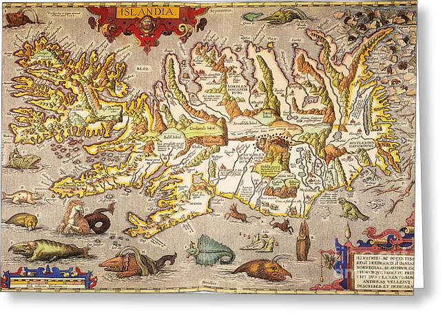 Iceland: Map, 1595 Greeting Card by Granger