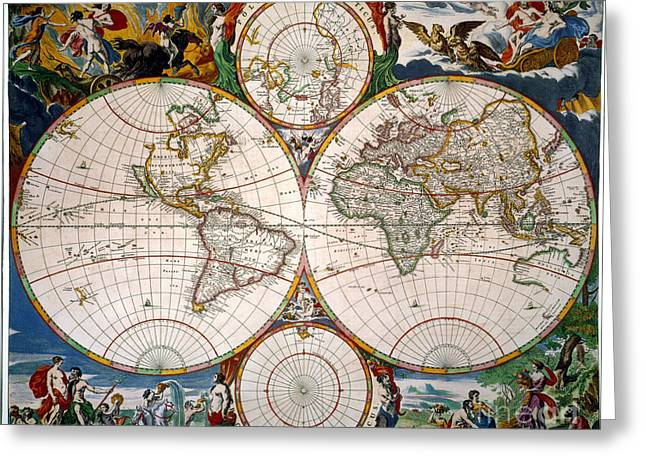 World Map, 17th Century Greeting Card