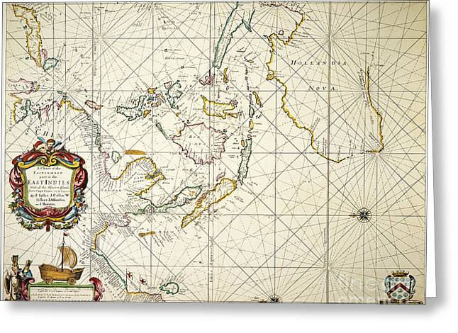 Map: East Indies, 1670 Greeting Card by Granger
