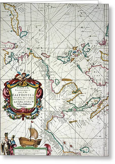 East Indies Map, 1670 Greeting Card by Granger
