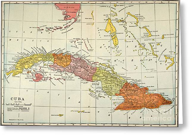 Map: Cuba, 1900 Greeting Card by Granger