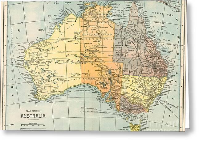 Map: Australia, C1890 Greeting Card by Granger