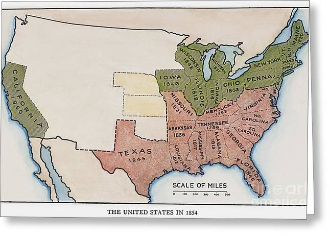 United States Map, 1854 Greeting Card by Granger