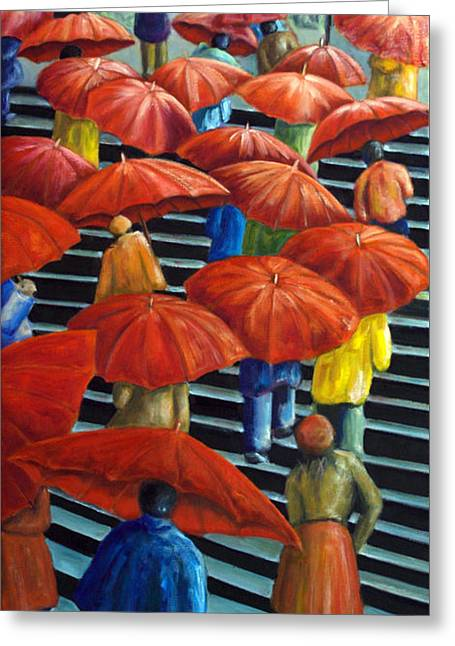 01149 Climbing Umbrellas Greeting Card