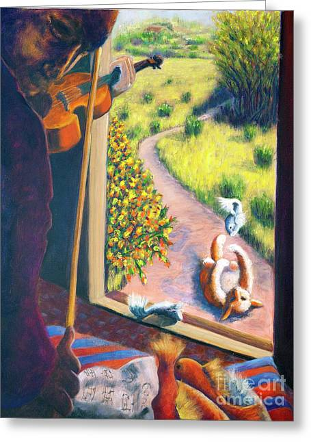 01349 The Cat And The Fiddle Greeting Card by AnneKarin Glass