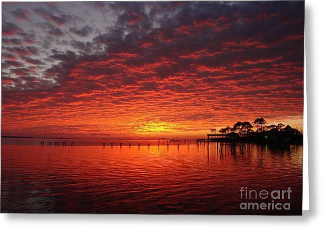 0205 Awesome Sunset Colors On Santa Rosa Sound Greeting Card
