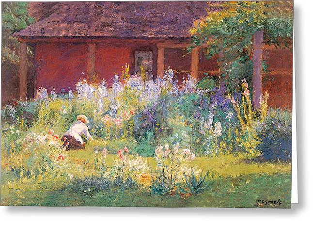 Selma In The Garden Greeting Card by T C Steele