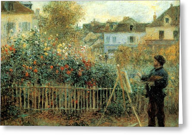 Monet Painting In His Garden In Argenteuil Greeting Card by Pierre Augusta Renoir