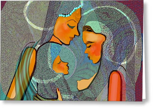 043 - Two Women Taking Care Of The Child 2017 Greeting Card by Irmgard Schoendorf Welch