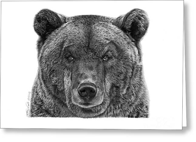Greeting Card featuring the drawing 045 Papa Bear by Abbey Noelle