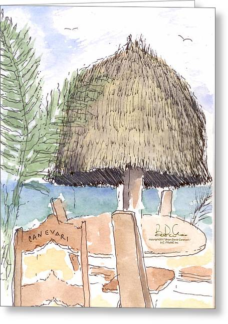 04.belize.thatch Greeting Card