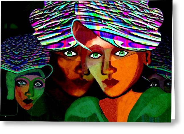 050 - Twin Face Greeting Card by Irmgard Schoendorf Welch