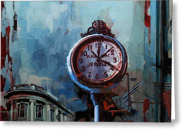 060 Milwaukee County Historical Society's Street Clock Frozen In Time Greeting Card