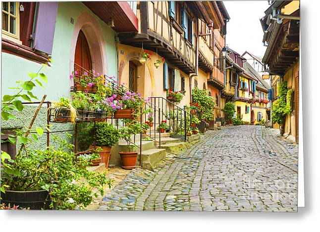 Half-timbered House Of Eguisheim, Alsace, France  Greeting Card by Marco Arduino