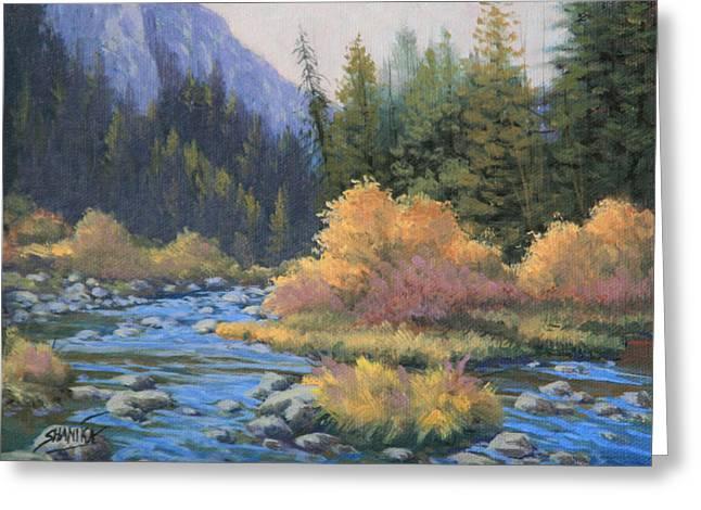 090917-68  Canyon Stream Greeting Card by Kenneth Shanika