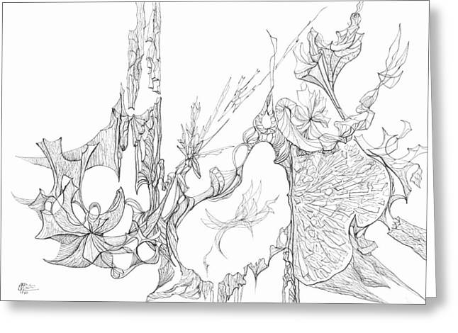 Organic Drawings Greeting Cards - 0910-8 Greeting Card by Charles Cater