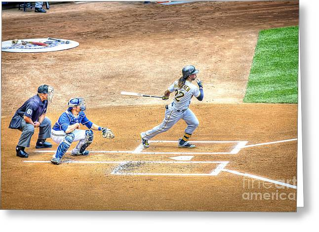0990 Base Hit - Mccutchen Greeting Card by Steve Sturgill