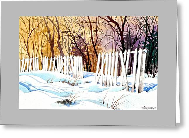 Fenced In Frost Greeting Card by Art Scholz