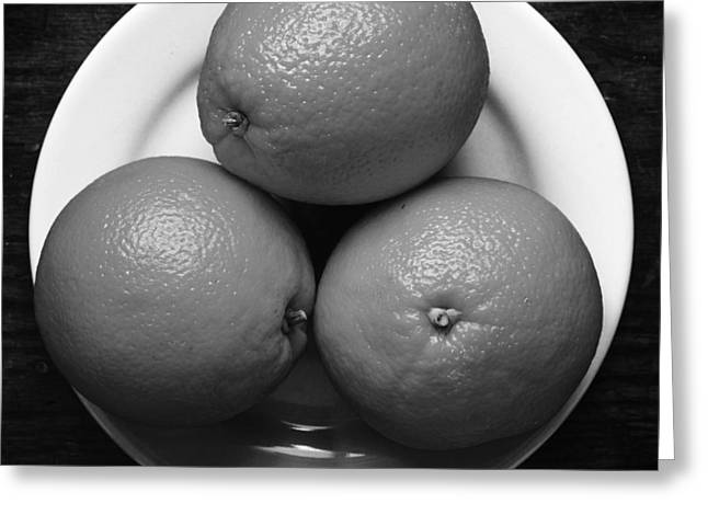 Oranges On White Plate In Black And White Greeting Card