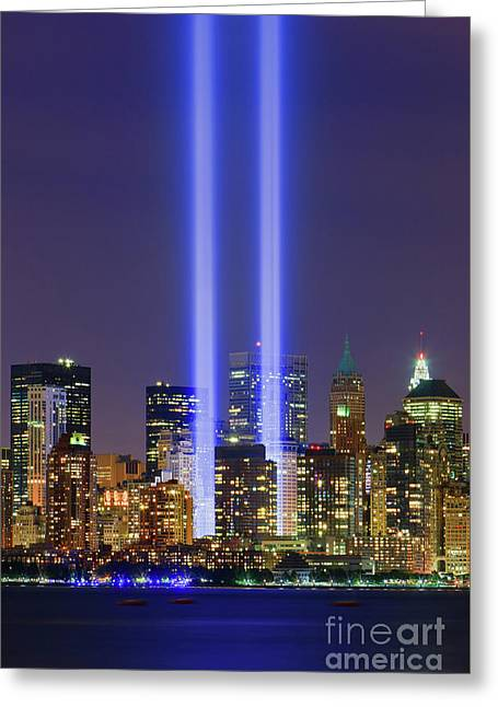 09/11 - Tribute In Light Greeting Card by Henk Meijer Photography