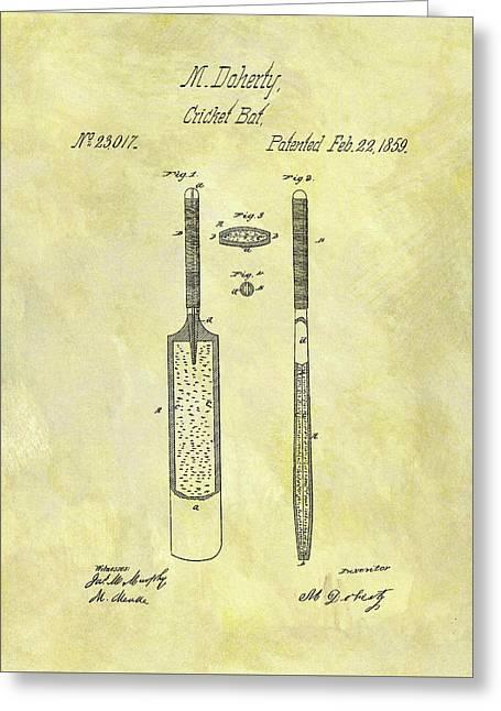 1859 Cricket Bat Patent Greeting Card